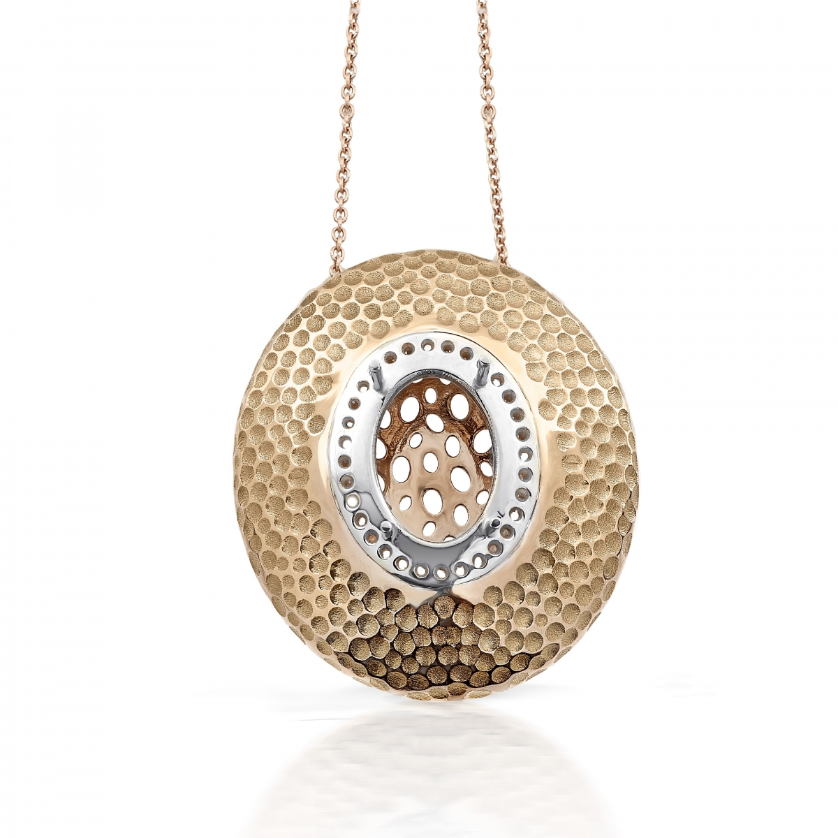hammered pendant with oval pendants with chain
